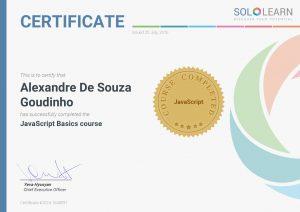 Certificate SoloLearn JavaScript